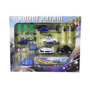 Police Patrol Die-Cast Car Play Set - 14 Piece Set