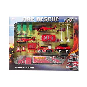 Fire Rescue Die-Cast Car Play Set - 14 Piece Set