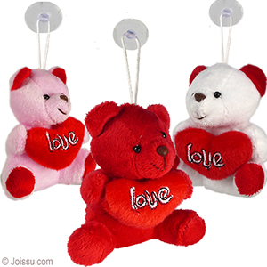 4 Plush Love Heart Bears W Window Hanger Wholesale Bulk Www